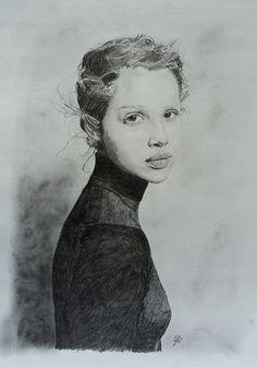 """Staring"" by Renato Mendoza, beautiful female wearing dark turtleneck sweater portrait pencil drawing on toned paper."