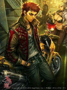 Bad ass Japanese biker gang illustration.