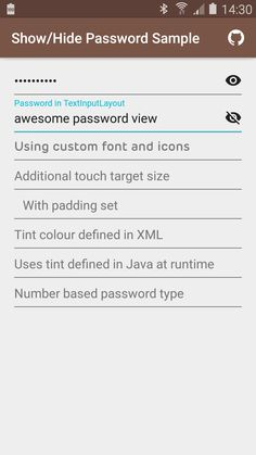 scottyab/showhidepasswordedittext: Show/Hide Password EditText is a very simple extension of Android's EditText that puts a clickable hide/show icon in the right hand side of the EditText that allows showing of the password.