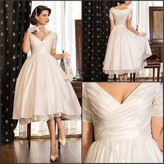 2016 Gorgeous Vintage Elegant V Neck A Line Short Sleeves Tea Length Wedding Dresses Plus Size Satin  Bridal Gowns -in Wedding Dresses from Weddings & Events on Aliexpress.com | Alibaba Group