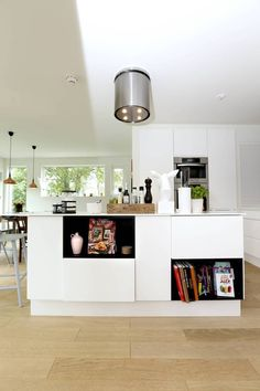 All White + a Dash of Black for Contrast All White, Future House, Kitchens, Table, Furniture, Contrast, Home Decor, Black, Decoration Home