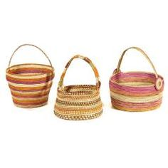 Baskets by various artists, Maningrida arts and culture, 2014 pandanus string FW15058, FW15065, FW15091