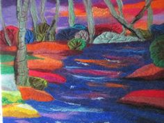 felt art felt picture river at sunset 20 x 16 by SueForeyfibreart