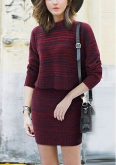 Woolen Padded Neck Sweater and Dress Outfit $28.99  https://www.maxfancy.com/dresses/Maxi-and-Skater-Skirt-Outfits/Woolen-Padded-Neck-Sweater-and-Dress-MFQNE7910