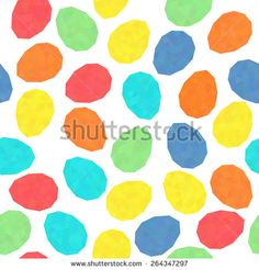 Easter pattern decoration. Easter eggs with low polygonal texture. Seamless. Stylized background with bright colored eggs. Seamless holiday backdrop. Triangle texture.