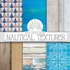 "Nautical digital paper: ""NAUTICAL TEXTURES"" with nautical scrapbook paper, beach background, wood, burlap for scrapbooking, invitations # linen"