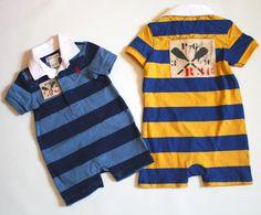 NWT Ralph Lauren Baby Boys Rugby Striped Shortall Romper Size 9 Months #RalphLauren #Everyday