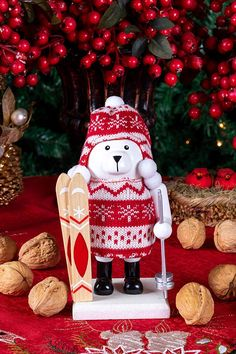 26e09039ffd1c Wooden Chubby Polar Bear Skiier Traditional Nutcracker - Festive Red and  White Knit Hat and Sweater