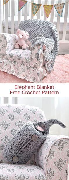 Elephant Blanket By Amanda Saladin - Free Crochet Pattern - (redheart) Thanks so xox ☆ ★ https://uk.pinterest.com/peacefuldoves/
