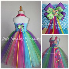 Candyland inspired tutu dress and matching hairpiece - Candy land inspired dress - lollipop inspired tutu dress size nb to Candy Images, Robes Tutu, Trolls Birthday Party, Halloween Disfraces, Candyland, Girl Costumes, Party Fashion, Hair Pieces, Fancy Dress