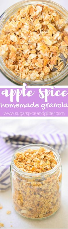 Healthy Homemade Granola sweetened with dates, this Apple Spice granola is perfect for an easy fall breakfast recipe