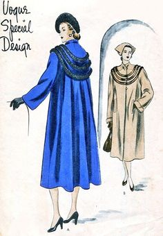 1940s Beautiful Coat Pattern Vogue Special Design 4806 Dramatic Film Noir Straight Front Flared Back, Deep Cape Collar May Be Fur Trimmed Bust 30 Vintage Sewing Pattern
