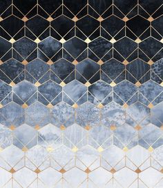 Blue Hexagons And Diamonds Art Print by Elisabeth Fredriksson | Society6