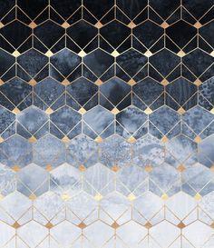 Blue Hexagons And Diamonds Art Print by Elisabeth Fredriksson | Society6