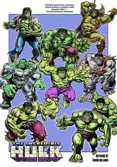 Just for fun... a collage of all of the different versions of the Incredible Hulk I've drawn over my professional career, including homages to Sal Buscema and the late Herb Trimpe.