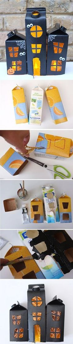 Upcycle your milk and juice cartons to build this fun and spooky haunted house for Halloween! A perfect craft for kids. Upcycle your milk and juice cartons to build this fun and spooky haunted house for Halloween! A perfect craft for kids. Bricolage Halloween, Soirée Halloween, Adornos Halloween, Manualidades Halloween, Halloween Projects, Diy Halloween Decorations, Holidays Halloween, Halloween Juice, Halloween Crafts For Kids To Make