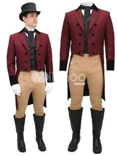 Crimson Jazz Cloth Swallow-tailed Steampunk Coat For Men - Milanoo.com