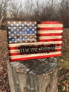 Patriotic Rustic American Flag US We The People Wood