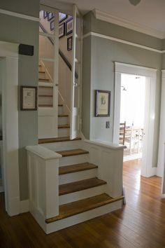 Pocket doors on the stairs helps keep the noise down, heat down, and/or pets on one side or the other.  Practical idea.