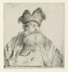 Rembrandt Harmensz. van Rijn, Dutch, 1606–1669, Old Man with a Divided Fur Cap, 1640. Etching and drypoint, sight in frame (trimmed to plate): 14.9 x 13.5 cm (5 7/8 x 5 5/16 in.). The Arthur Ross Collection, 2012.159.2. Photo credit: Yale University Art Gallery.
