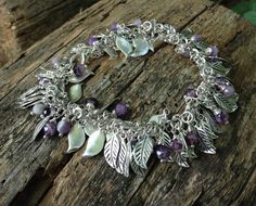 Faceted Amethyst Gemstone & Leaf Charm Bracelet by McHughCreations, $37.95
