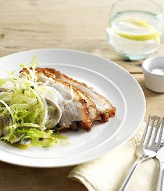 Australian Gourmet Traveller and Meadowbank Estate vineyard entree recipe for crisp pork belly with fennel and white anchovy salad
