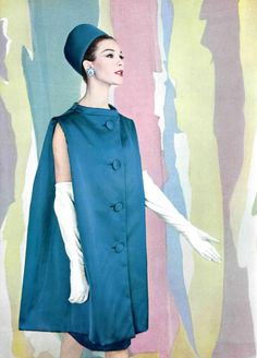 Model in sleeveless silk evening coat by (YSL) Christian Dior, photo by Pottier, 1960