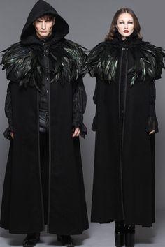 Veste cape mixte noire, plumes amovibles, gothique elegant, inspiration game of throne > JAPAN ATTITUDE - DEVFA014   Shop : www.japanattitude.fr