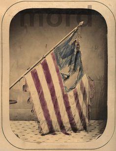 Rare Large Albumen Photo: Hand-Colored CW Battle Flag