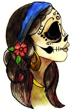 Sugar skull. Dia de los Muertos. Day of the dead. Morph with Tigerlily from Peter Pan and it would look sooo good!