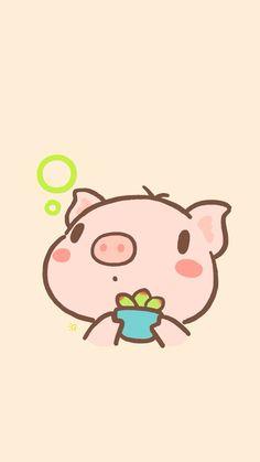 Pig Wallpaper, Kawaii Wallpaper, Animal Wallpaper, Iphone Wallpaper, Kawaii Pig, Kawaii Cute, Kawaii Anime, This Little Piggy, Little Pigs