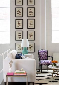 Tall ceilings..amazing how that touch of pink, purple, orange & turquoise just POP!!