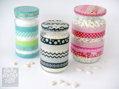 Washi Tape Recycle / Reciclado Jars, decorated with WASHI TAPE