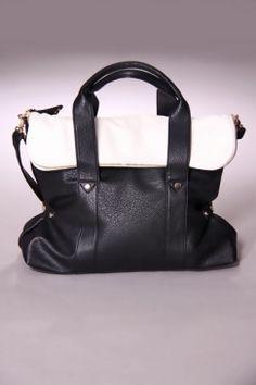 Black White Two Tone Metal Detailed Tote Handbag