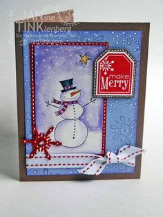 Make Merry Christmas Snowman Greeting Card Handmade in by JanTink
