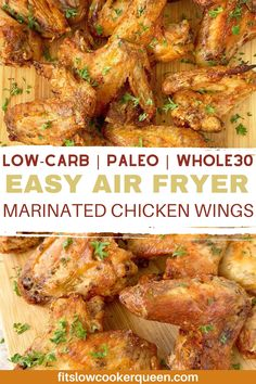 Easy Air Fryer Marinated Chicken Wings—protein packed, healthy dinner for those busy week nights. Air fryer wings with a homemade marinade are the perfect game-day recipe. These crispy chicken wings are low-carb, paleo, and whole30. Marinated Chicken Wings, Crispy Chicken Wings, Air Fryer Chicken Wings, Healthy Slow Cooker, Healthy Meals, Easy Meals, Healthy Eating, Healthy Recipes, Air Fry Recipes