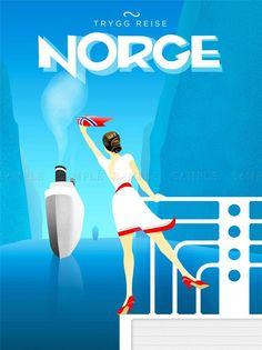 VINTAGE TRAVEL NORGE NORWAY SHIP ART POSTER PRINT LV5019 | Art, Art Posters | eBay!