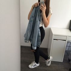 Pinterest: @barbphythian || ootd everyday look | denim jacket, black (high waisted) jeans, white tee shirt, Adidas superstar shoes