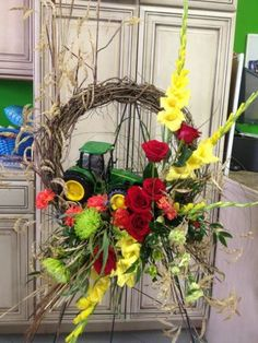 A John Deere tractor was included in this lovely floral tribute wreath. Casket Flowers, Grave Flowers, Cemetery Flowers, Funeral Flowers, Funeral Floral Arrangements, Flower Arrangements, Bereavement Flowers, Flower Shop Network, Funeral Sprays