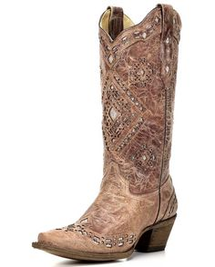 Corral Women's Cognac Glitter Inlay Boot - A2948  http://www.countryoutfitter.com/products/108653-womens-glitter-inlay-boot-cognac