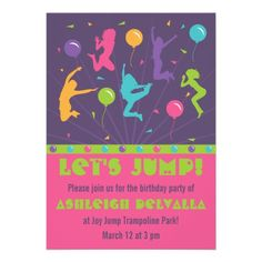 Trampoline or Bounce Invitation by Meghilys on Etsy Sky Zone