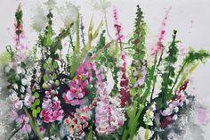 'Pink Foxgloves'An ... Tall Flowers, Lilac Flowers, Summer Flowers, Red Roses, Wind Break, Bird Artists, Irish Landscape, Irish Art, Summer Glow