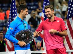 NOVAK DJOKOVIC | Novak and Stan Wawrinka during the US Open trophy...