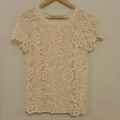 {Zara} Cream lace crochet Blouse Beautiful flawless condition heavy lace top.  Short sleeve, all over lace crochet, lined. Ivory cream color.  Fits a 4-6, tag size medium. No trades no PayPal, this is my lowest unless bundled. Zara Tops Blouses