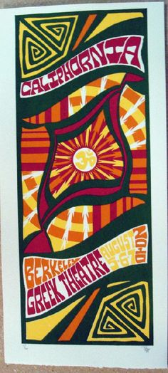Original silkscreen concert poster Phish in California in 2010. 10 x 21 inches. It is printed on Watercolor Paper with Acrylic Inks. The poster is signed and numbered out of only 60 by the artist Tripp.