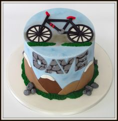 Mountain bike themed cake Bicycle Party, Bicycle Cake, Bike Cakes, Birthday Cakes For Men, 50th Birthday, Cake Cookies, Cupcake Cakes, Cupcakes, Celebration Cakes