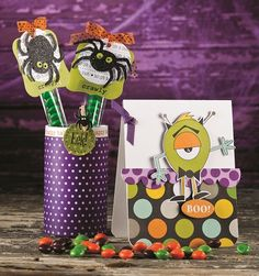 Halloween Project from Carolyn King using SRM's Skinny TUBE, Halloween Borders and We've Got Your Sticker.  EEK!