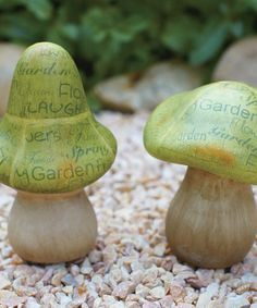 Another great find on #zulily! Green Printed Mushroom Figurine - Set of Two #zulilyfinds