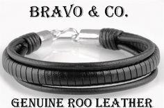 7B-096 Finely Made Sterling Silver New Kangaroo Leather Wristband Men Bracelet