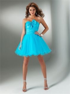 A-line Strapless With Nice Bow Pleated and Ruffled Short Tulle Prom Dress PD1283 www.tidedresses.co.uk $136.0000